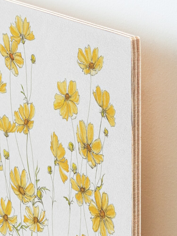 Alternate view of Yellow Cosmos Flowers Mounted Print