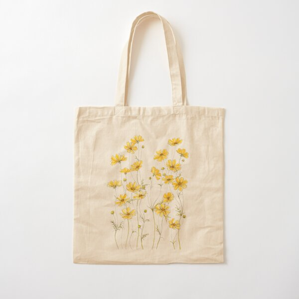 Yellow Cosmos Flowers Cotton Tote Bag