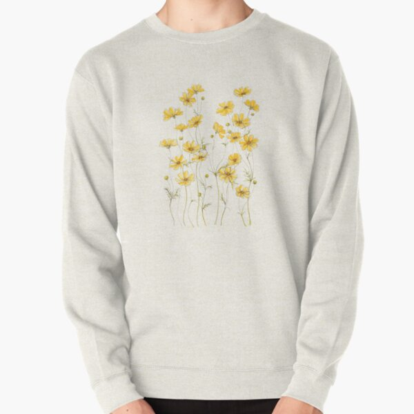Yellow Cosmos Flowers Pullover Sweatshirt
