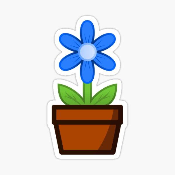 Blue Flower Pot Sticker