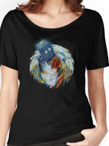 Blue Phone Booth jump into time Vortex art painting Women's Relaxed Fit T-Shirt