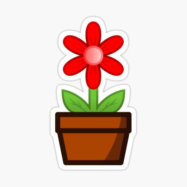 Red Flower Pot Sticker