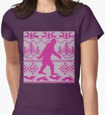 Gone Squatchin Ugly Christmas Sweater Knit Style Women's Fitted T-Shirt