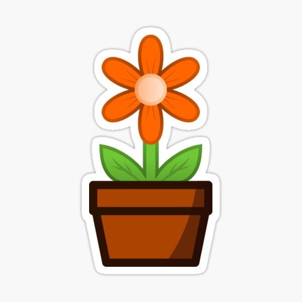 Orange Flower Pot Sticker