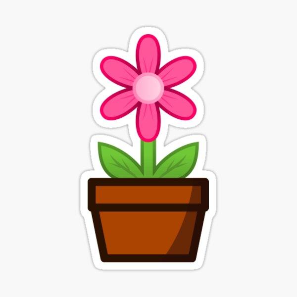 Pink Flower Pot Sticker