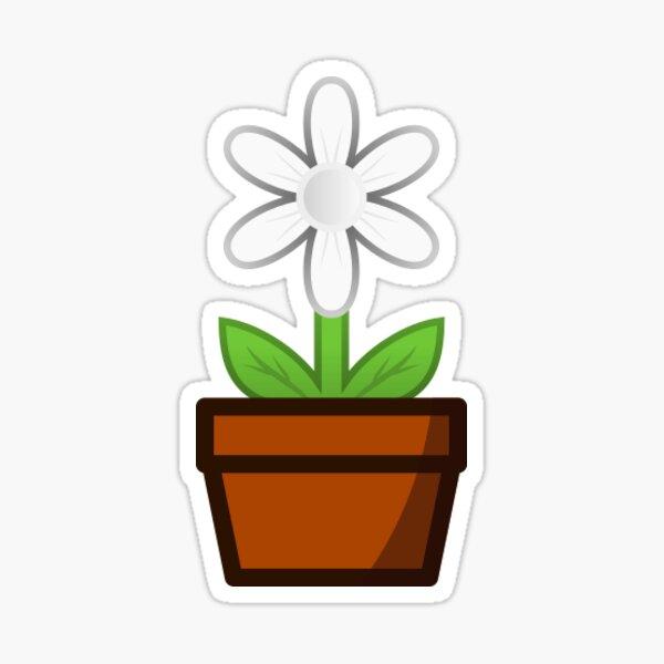 White Flower Pot Sticker