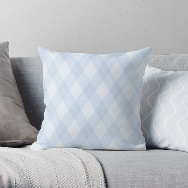 Argyle - Pastel Baby Blue Throw Pillow
