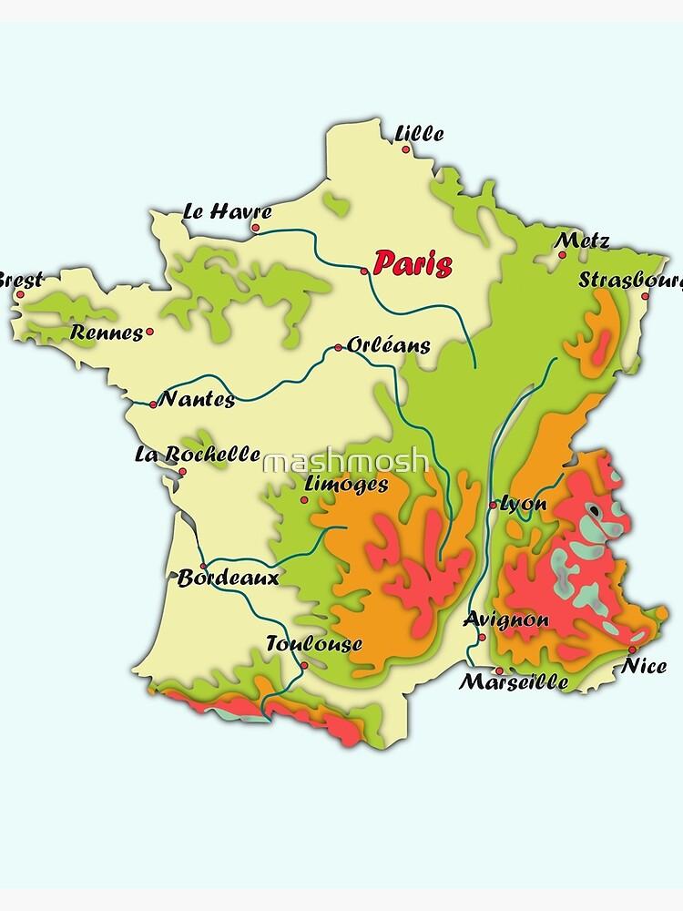 carte de france avec relief et villes carte de France avec relief, carte topographique de France avec