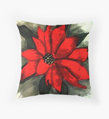 Red Poinsetta, Watercolor Throw Pillow
