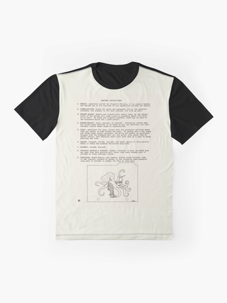 Alternate view of Walktapus Cookery: carving instructions - from Wyrms Footnotes #2 Graphic T-Shirt