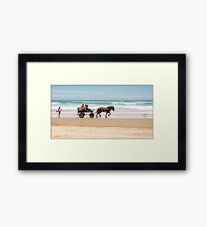 Clip Clop - horse rides on the beach Framed Print