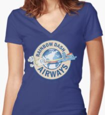 Rainbow Dash Airways Women's Fitted V-Neck T-Shirt