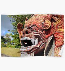 menacing statue at tirta gangga water palace, bali Poster