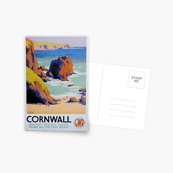 Great Western Railway Cornwall vintage poster Postcard