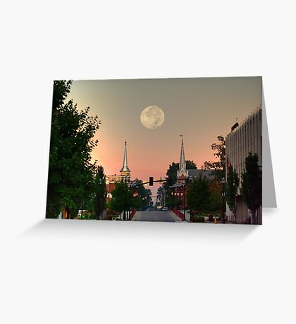 Moon over McMinnville Greeting Card
