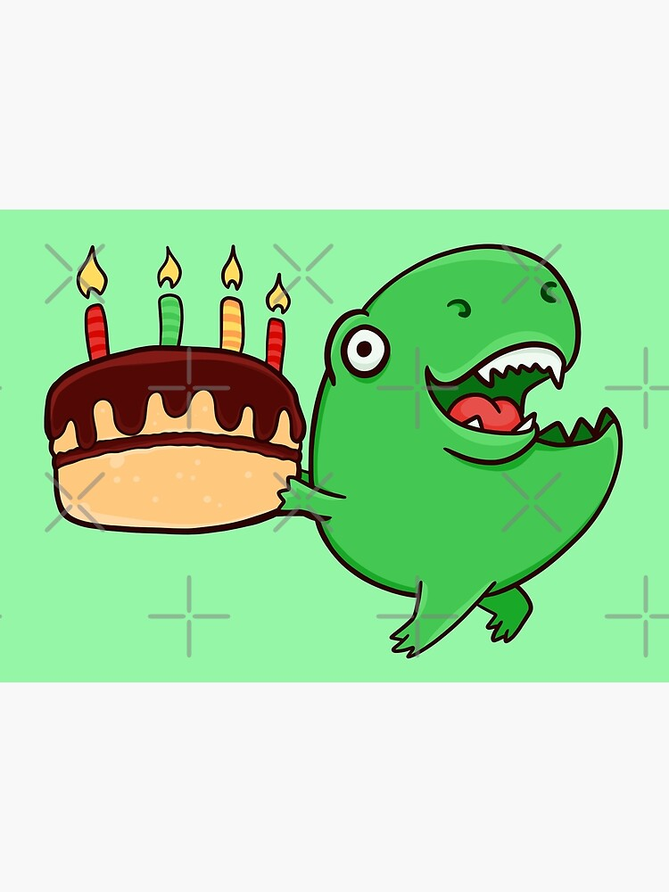 Admirable T Rex With A Chocolate Birthday Cake Greeting Card By Manydoodles Personalised Birthday Cards Paralily Jamesorg