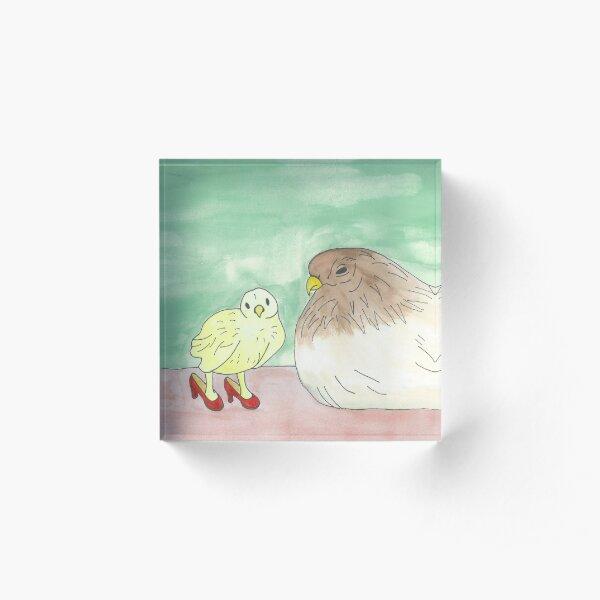 Amelia and Her Mom - Birds in Heels Original Acrylic Block