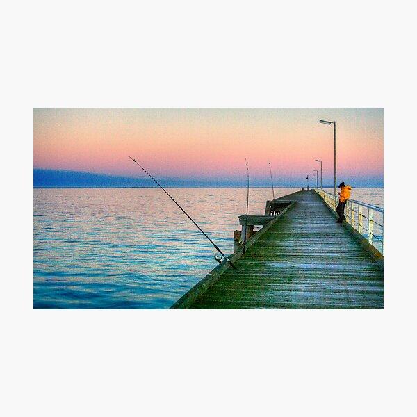 Fishing and texting on Beachport Jetty, Beachport Photographic Print