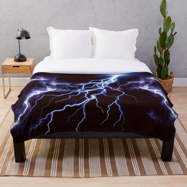 Blue Thunder Colorful Lightning graphic Throw Blanket