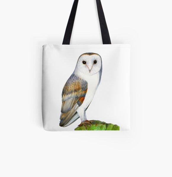 Barn Owl Bird Watercolor Artwork Painting Bird Hand-Painted Artwork All Over Print Tote Bag