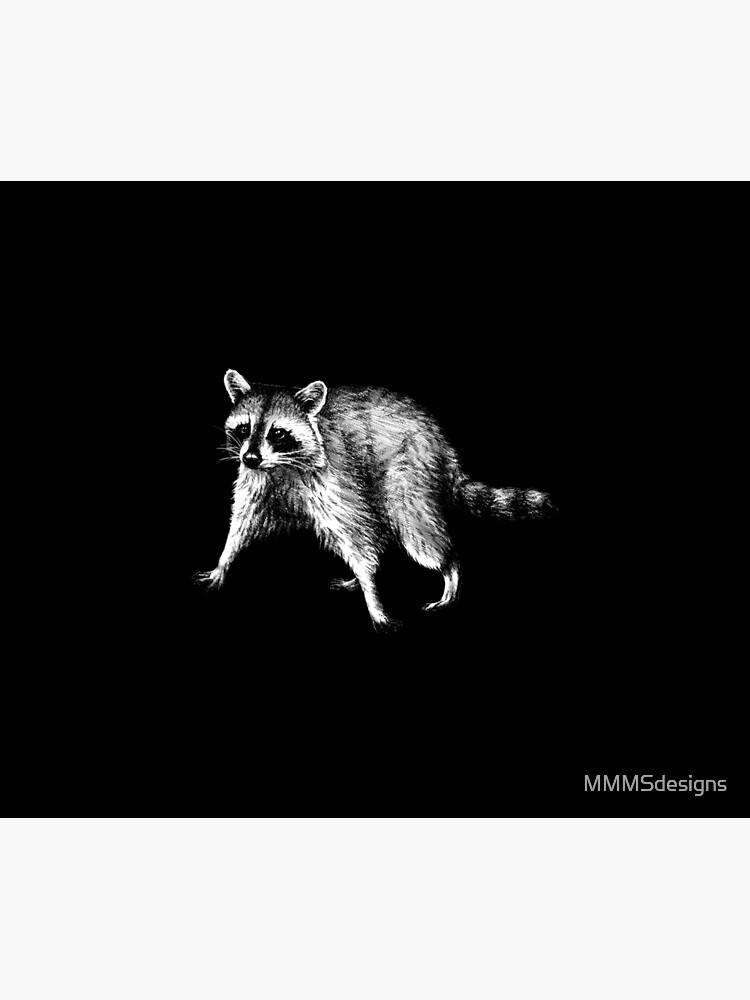 Raccoon Animal Portrait (dark background) by MMMSdesigns