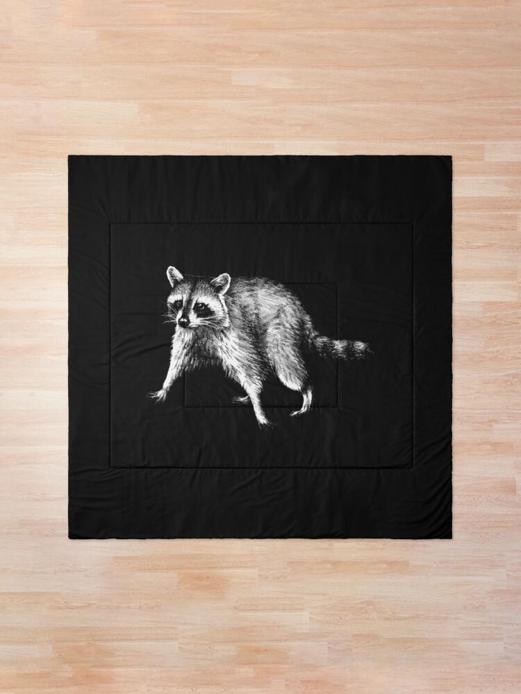 Alternate view of Raccoon Animal Portrait (dark background) Comforter