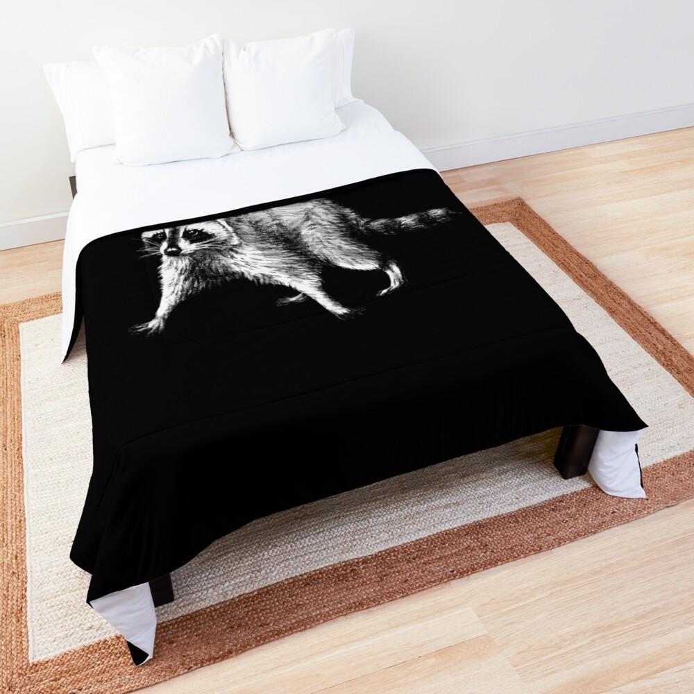 Raccoon Animal Portrait (dark background) Comforter