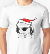 Funny Cool Old English Sheepdog with Santa Hat Christmas Unisex T-Shirt