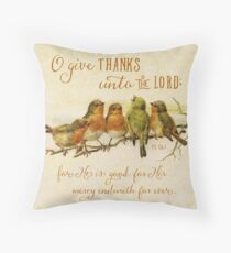 Give Thanks Vintage Birds Throw Pillow