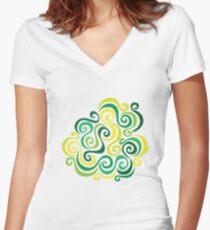 Swirly Emblem Women's Fitted V-Neck T-Shirt