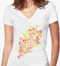 Firery Curlicules Women's Fitted V-Neck T-Shirt