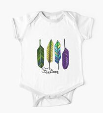 Hand drawn ink feathers set. Kids Clothes