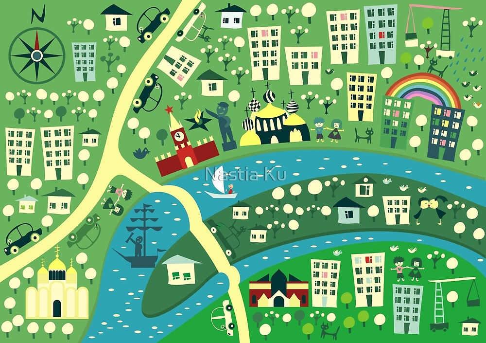 Cartoon Map of Moscow by Anastasiia Kucherenko