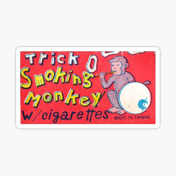 Trick Smoking Monkey Packaging Art Sticker