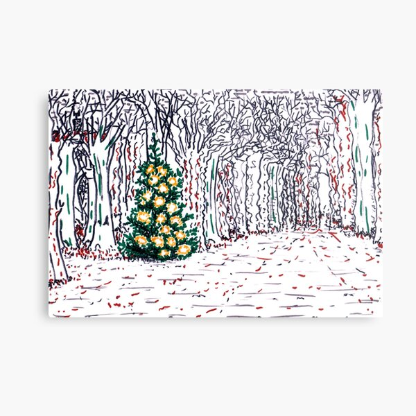 Tree with Christmas Decoration Metal Print