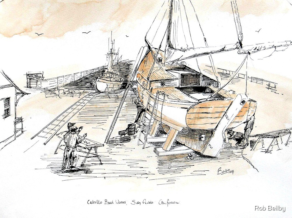Cabrillo Boat Works: San Pedro Ca by Rob Beilby