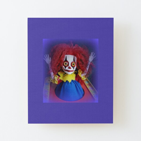 Jack In The Box Clown Horror Doll ~ Lady Scream Wood Mounted Print
