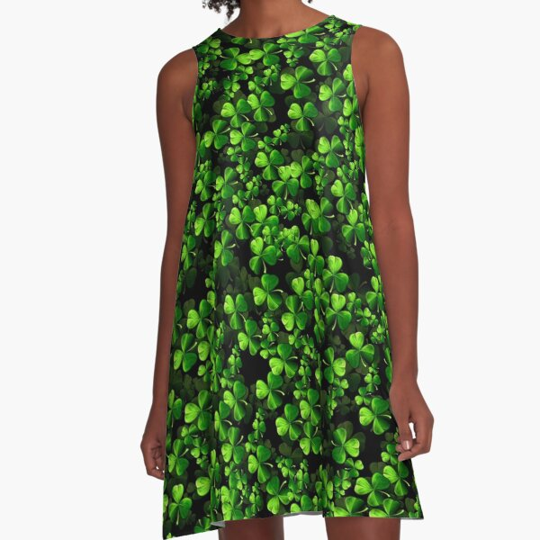 Patrick's Day Shamrock Clothes and Gifts Dark A-Line Dress