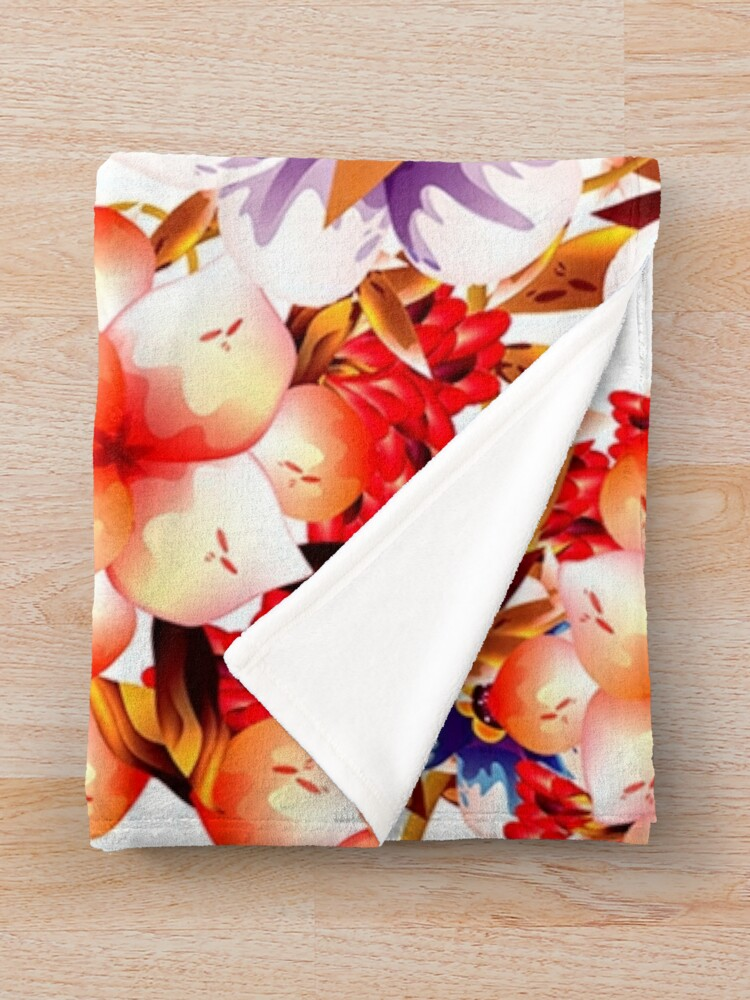 Alternate view of Bright Fall Flowers Throw Blanket