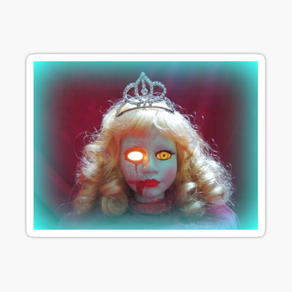 Beauty Queen Doll Head ~ Lady Scream  Glossy Sticker