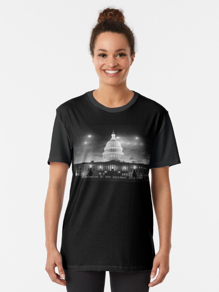 Alternate view of Washington DC UFO Flap Graphic T-Shirt