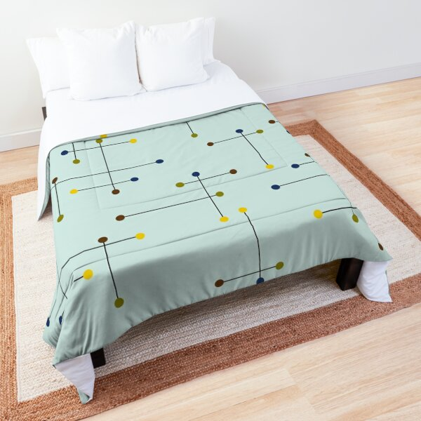 Mid Century Modern Lines and Dots Comforter