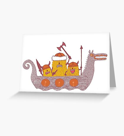 Viking Party Animals in a  Dragon Boat Greeting Card
