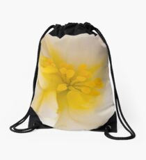 White Begonia With Yellow Stamen Macro  Drawstring Bag