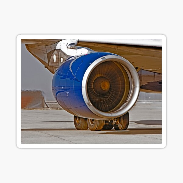 Jet Engine Preparing for Take Off  -  Fresno, California Sticker