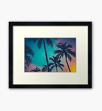Hawaii Palm Trees At Sunset Framed Print