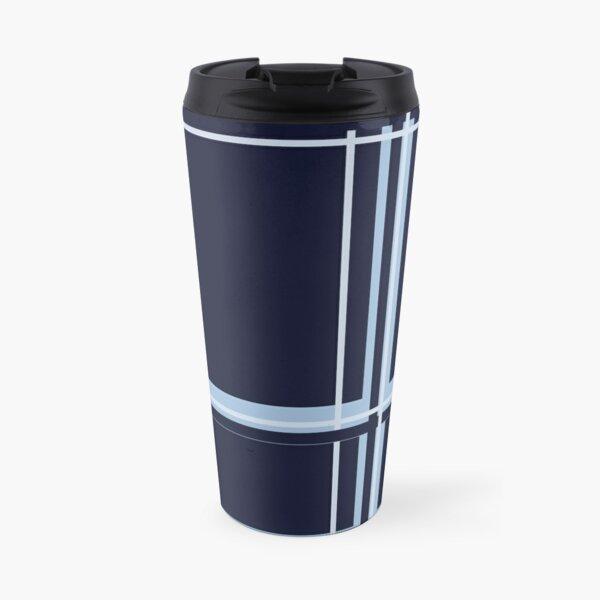 Monochromatic Plaid, Blue, by Courtney Hatcher Travel Mug
