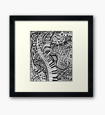 Classical music doodle with piano keyboard Framed Print