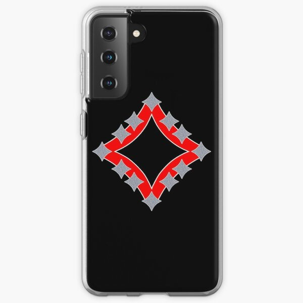 Dancing Silver 4-Point Stars Red Black Face Samsung Galaxy Soft Case