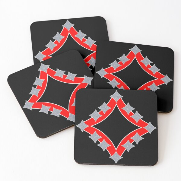 Dancing Silver 4-Point Stars Red Black Face Coasters (Set of 4)